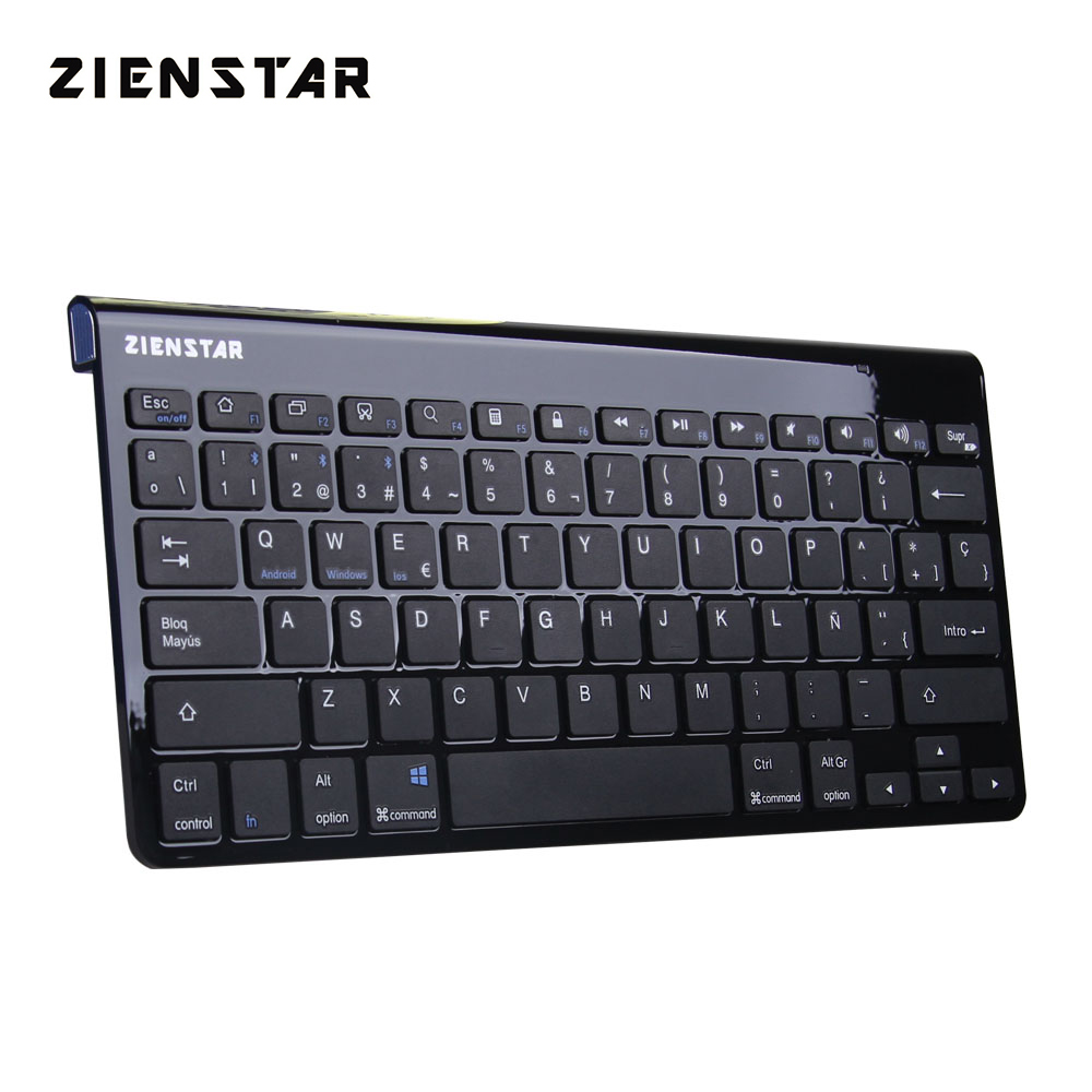 Zienstar Shinny Black Spanish Letter Slim Wireless Keyboard Bluetooth 3.0 para ipad / Iphone / Macbook / PC / tableta Android