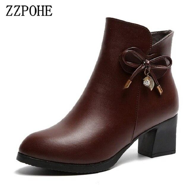 357bd64058 ZZPOHE mujeres moda botas señoras cuero punta redonda tacones altos Botines  mujer otoño invierno más zapatos