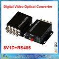 1 par 2 unids/lote 8 canales de vídeo convertidor óptico de fibra óptica transmisor óptico de vídeo y receptor 8CH + RS485 Data