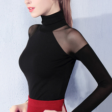 women spring and autumn gauze turtleneck full sleeve sexy strapless lace top t-shirt white gray and wine red tops 26113