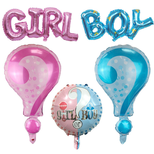 Boy Girl Pink Blue New Symbol Question Mark Balloon Baby Birthday