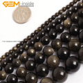 Natural Gold Obsidian Stone Beads For Jewelry Making 15inches DIY Jewellery FreeShipping Wholesale Gem-inside