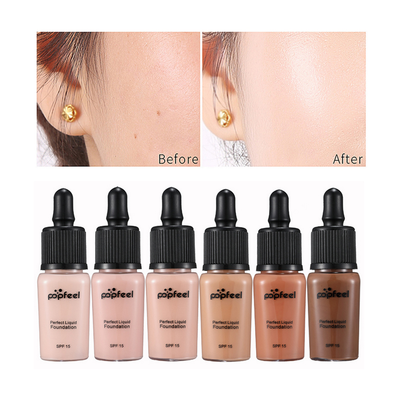 Popfeel fashion perfect Sunscreen Covers Concealer LongLasting SPF15 Sun Block Face Whitening Dark Skin Makeup Liquid Foundation image