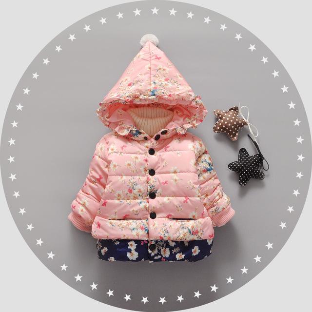 Flor do bebê Meninas Roupas de Inverno Outerwear Outono Casacos Crianças Roupas de Algodão-acolchoado Casaco Crianças Casaco Espessamento Floral
