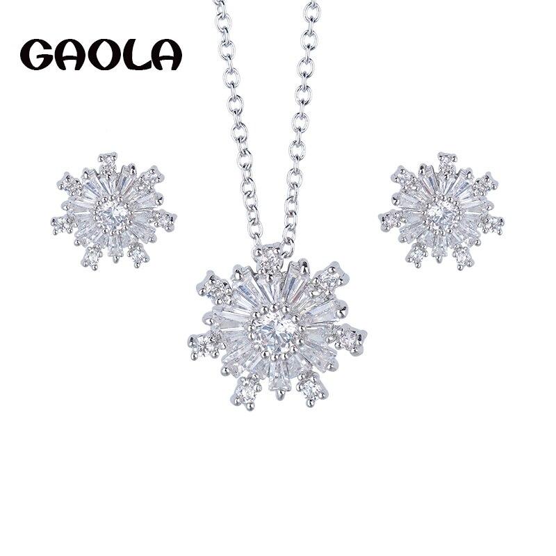 GAOLA Dia de Natal Neve Flor de Cristal Jóias de Prata Cor Crianças  Conjuntos de Jóias Para As Meninas GLDT0724 51acc6480c