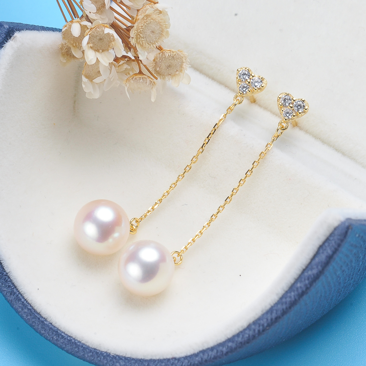 New fashion Long Chain Natural fresh water 7-7.5mm Pearl Earrings Rhinestone Ball Tassel Dangle Drop 925 Silver Jewelry CRED