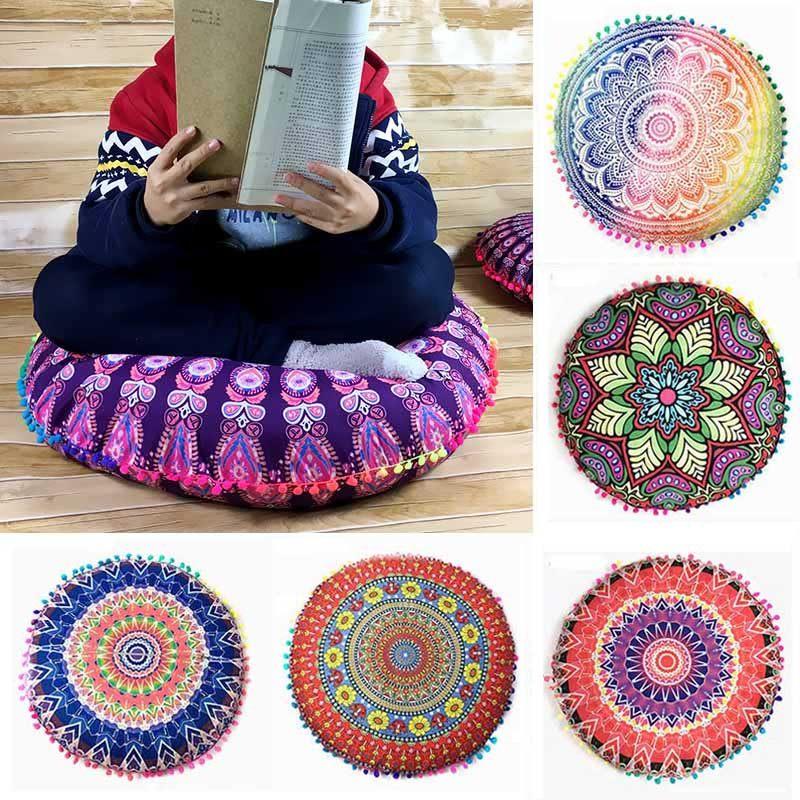 43 * 43CM bohemian style polyester home textile round floor pillowcase upholstery pillowcase <font><b>13</b></font> colors to choose from image