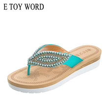 E TOY WORD Summer Slippers Woman Non-Slip flat Flip-Flop String Bead Beach casual Shoes Outdoor Women