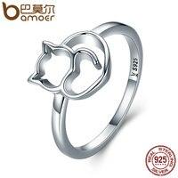BAMOER Authentic 100 925 Sterling Silver Naughty Little Cat Heart Finger Ring For Women Sterling Silver