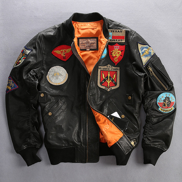 FREE SHIPPING 2016 Top Gun Men Embroidered Flight Leather Jacket Genuine Sheepskin Plus Size M-6XLMen Winter Military Coat