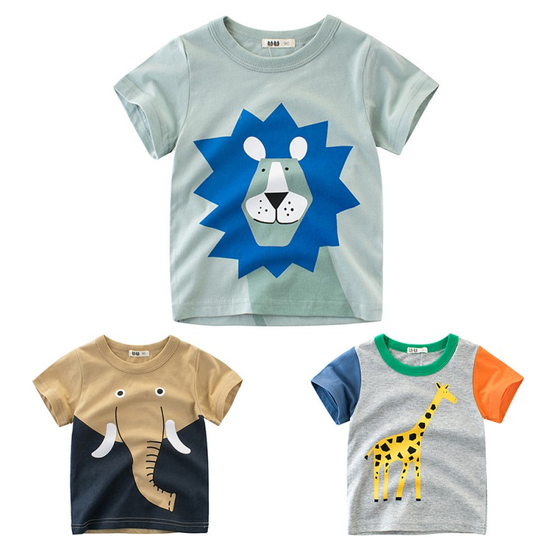 Summer Children Boy T shirt Animal Print Short Sleeve Tee Shirts Kids Elephant Lions Giraffe Fashion Casual Tops Clothes in T Shirts from Mother Kids
