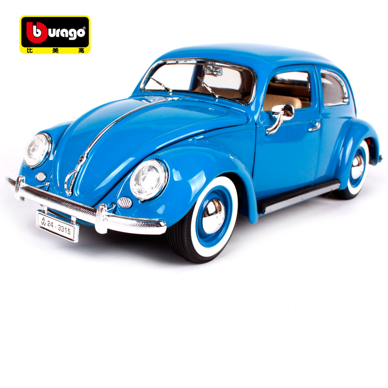 Bburago 1:18 1955 volkswagen beetle blue green yellow car diecast 235*92*82mm vintage car model old version for collecting 12029 showcase presents blue beetle volume 1