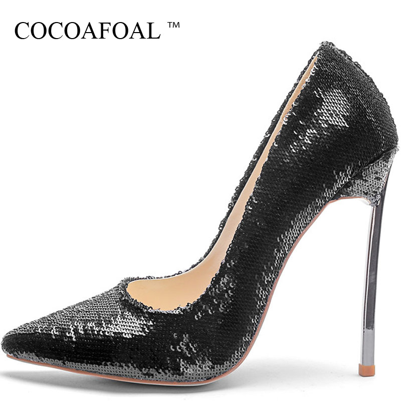 COCOAFOAL Silver Gold Womem's High Heels Shoes Sexy Valentine Shoes Woman Plus Size Pointed Toe Wedding Bridal Shoes Pumps 2018 cocoafoal woman silver high heels shoes stiletto plus size 33 43 44 wedding silver gold pumps pointed toe sexy valentine shoes