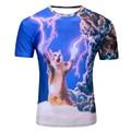 2016 Dos Homens Novos O-pescoço 3D Impresso T-Shirt destemido gato brincando com relâmpago Trovão gato camisetas harajuku camiseta homme