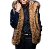 2017 Winter Mens Luxury Fox Fur Vest Warm Sleeveless Jackets Plus Size Hooded Coat Fluffy Faux