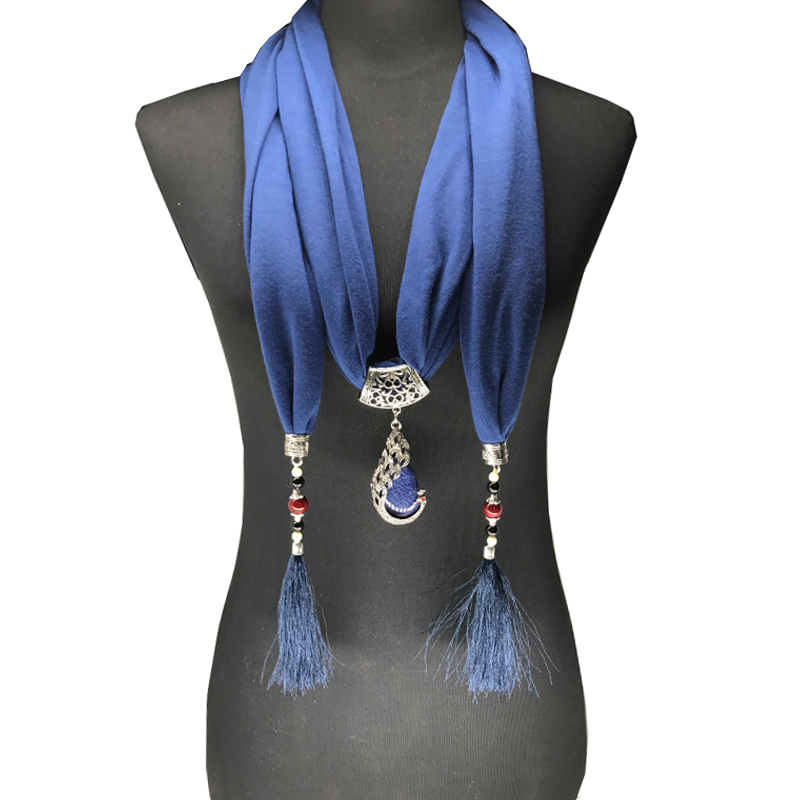 2017 Nature Stone pendant necklace Scarf Pendant Necklace Fringe tassel Scarf Jewelry With beads Ethnic Jewelry stylish rose leaf tassel voile scarf