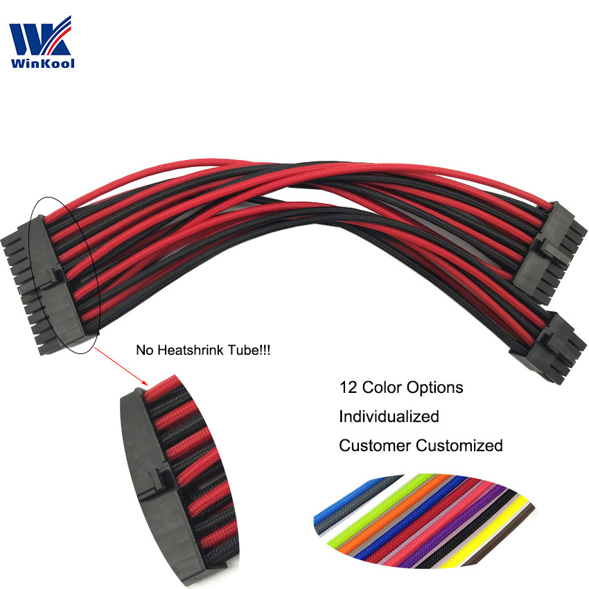 WinKool Modular PSU Individually ATX 10+18 Pin To 24Pin Type 4 Sleeved Cable For Corsair Modular PSU RMi RMx SF Series
