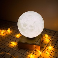 Автоматически поворачивать 3D печатных лунный свет в подвесные магнитные ночник Luminaria Деревянный USB Light Touch ночники