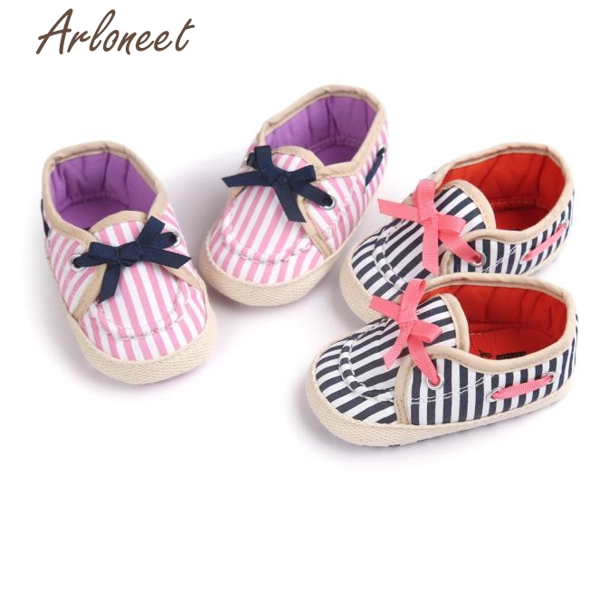 2017 FASHIONGirl Stripe Canvas Shoe Baby Boys Shoes Sneaker Anti-slip Soft Sole Toddler