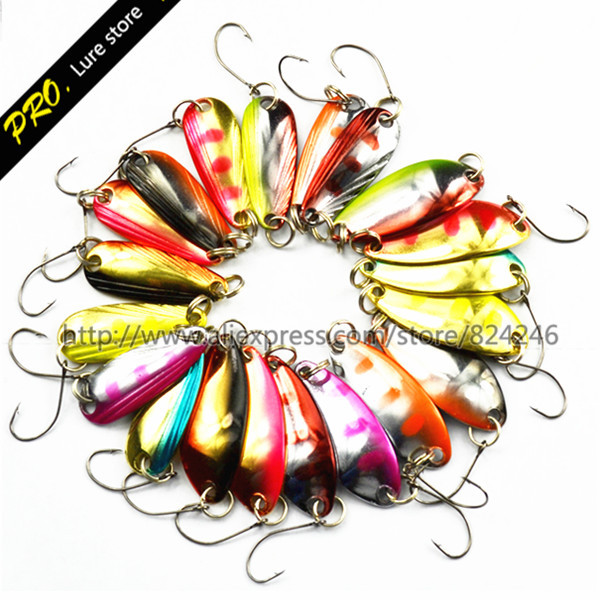 Free Shipping 20pcs/set 2.7cm Metal Spoon  Fishing Spoons Lures Assorted Color Spoon Lures Wire Lure Baits