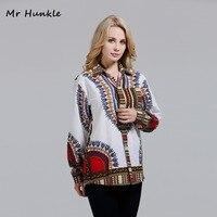 2017 Womens White Cotton Dashiki Print Shirts Pocket Turn Down Collar African Shirt For Women Full