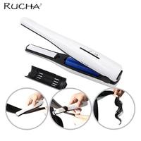 RUCHA Rechargeable Cordless Power USB Li Ion Battery Mini Hair Straightener Ceramic Iron Hair Curling Style