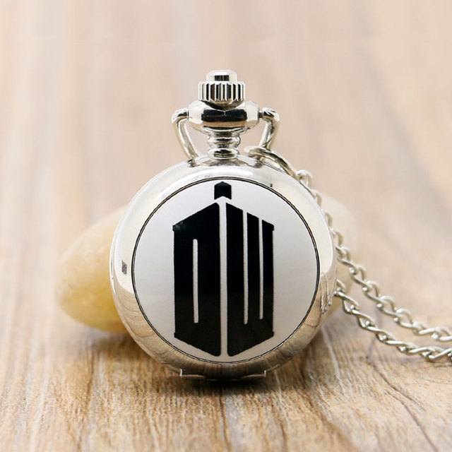 Hot Teleplay Extension Doctor Who Theme Silver Color Pocket Watch With Necklace