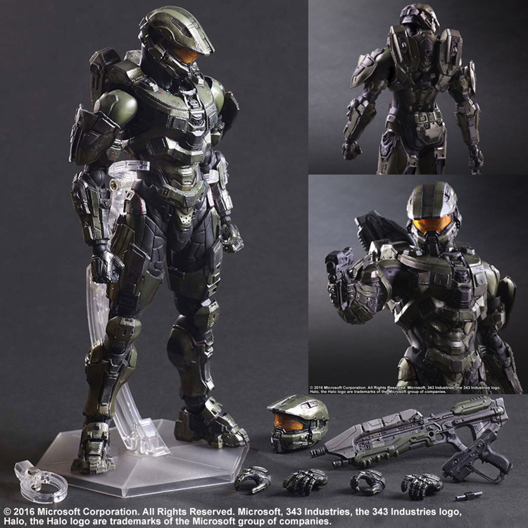XINDUPLAN Play Arts Kai Halo 5 Guardians Master Chief John 117 Movable FPS Action Figure Toys 25cm Gift Collection Model 0608 halo 5 guardians play arts reform master chief action figure