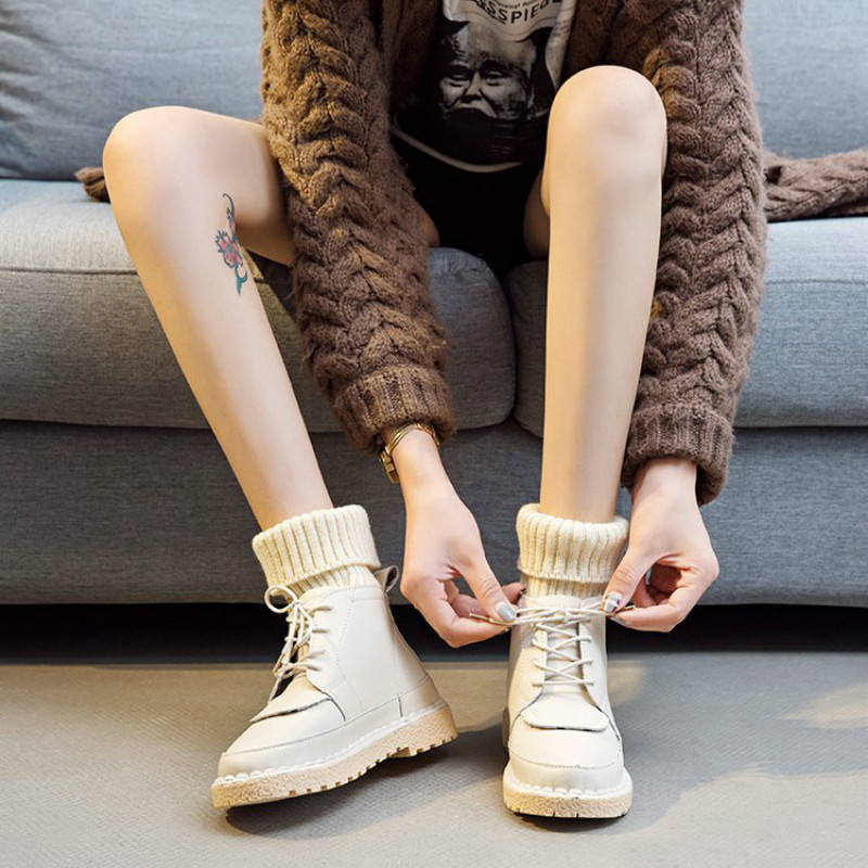 Bottes Femme 2018 Autumn Spring Women Martin Boots Pu Leather Lace Up Fashion Motorcycle Boots Solid Color Short Booties 35-40