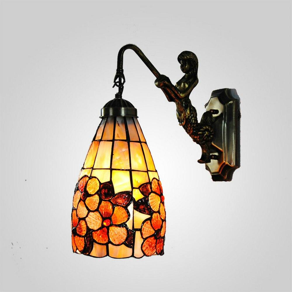 Mamei 5 zoll blume design shell lampe tiffany schlafzimmer licht wand kostenloser versand für korridor 110