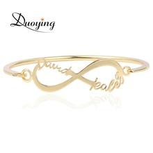 Duoying Custom Name Bangles Infinity Bracelet For Amazon Etsy Gold Nameplate Personalized Minimalist Bracelets Jewelry for Women