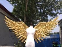 Больших птичьих перьев крылья черный, белый, золотистый крылья феи модель шоу для выступления питания ручной работы EMS Бесплатная доставка
