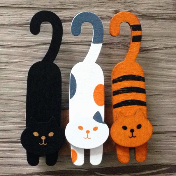 1pack/lot Korean Style New Fashion Cute Naughty Cat Design Gift Wooden Clip Set Bag Clip 3pcs Each Pack