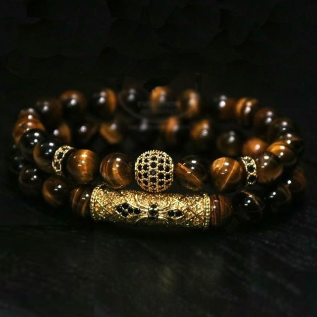 2Pcs/ Set Natural Tiger Eye Stone Bracelet  2