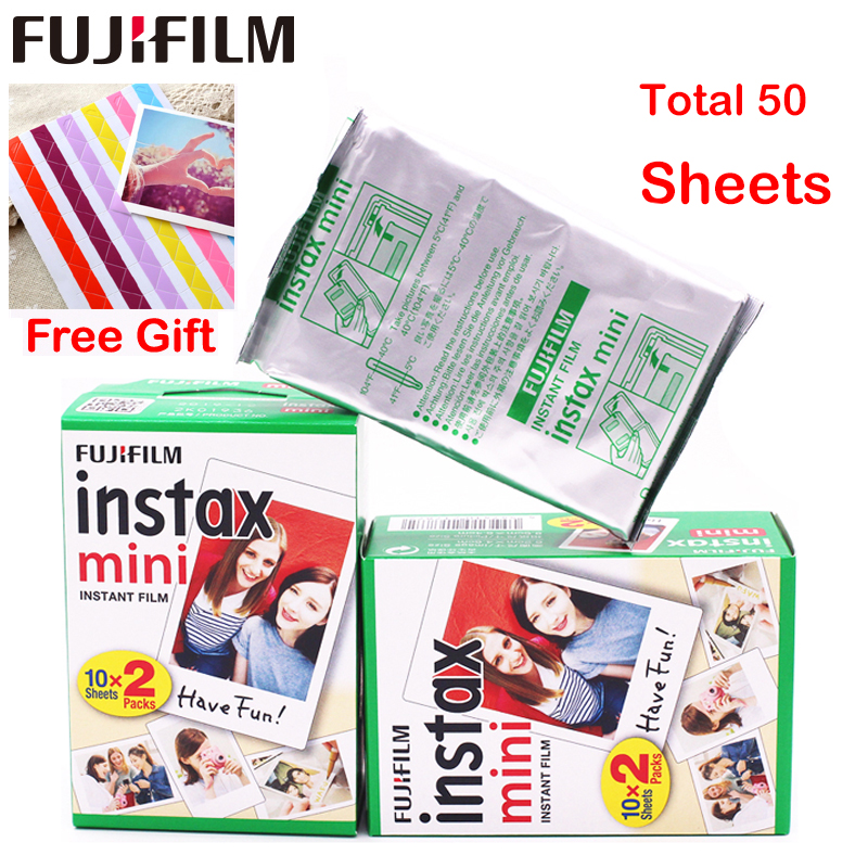 Genuine 50 Sheets White Fuji Instax Film Fujifilm Instax Mini 8 Film For 7 7s 8 9 50s 7s 90 25 Share SP-1 SP-2 3 Instant Camera 5 packs fuji fujifilm instax mini instant film monochrome photo paper for mini 8 7s 7 50s 50i 90 25 dw share sp 1 cameras