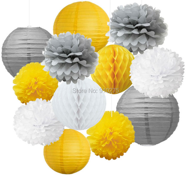 12pcs mixed yellow grey white tissue paper pom poms flower hanging 12pcs mixed yellow grey white tissue paper pom poms flower hanging paper lantern honeycomb balls wedding mightylinksfo