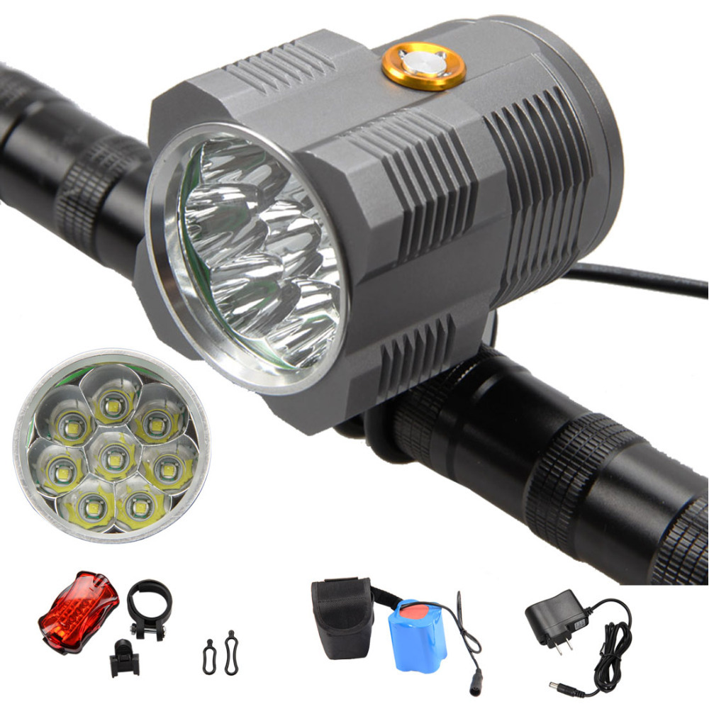 13000Lumen LED Bicycle Light  8x XM-L T6 Bike Front Lamp Head Light Lamp+20000mAh Battery+AC Charger+Tail Light Set hot sale 3x cree xml t6 led headlamp bike light 5000 lumen 18650 led head light 4x18650 battery pack charger bike rear light
