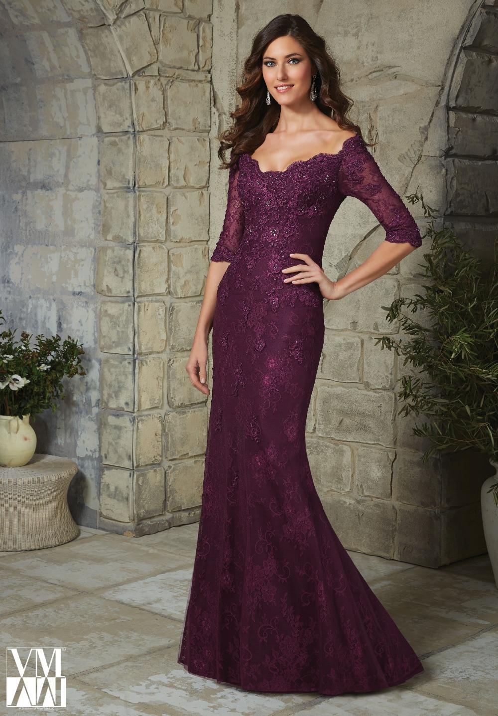 Elegant Plus Size Half Sleeve Plum Lace Mother Of The Bride