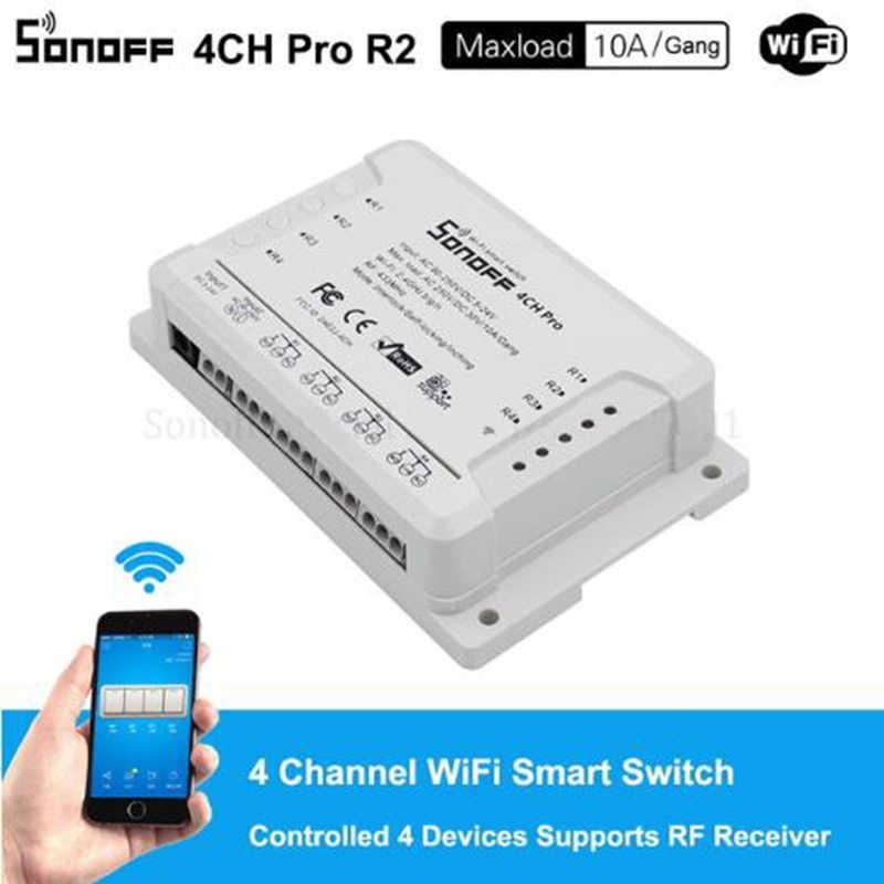Sonoff 4ch Pro R2 4 kanałowy bezprzewodowy przełącznik do montażu na szynie Din bezprzewodowy inteligentny RF pilot zdalnego sterowania na Off Timer przełącznik inteligentny domu eWeLink