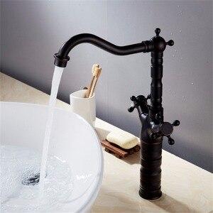 Image 4 - 新スタイルのレトロなホットとコールド蛇口黒くキッチンスイベル真鍮デザイナー蛇口シンク洗面器ミキサータップ B3214