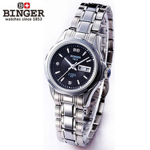 Binger Two Dates Watch Rhinestone Women Dress Trendy Watches Black Dail Wristwatches Automatic Date Silver Band Watch Jewelry