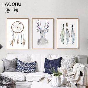 HAOCHU винтажный этнический Ловец снов красочные перья декоративные картинки Животные Олень портрет Простой Холст Картина домашний декор
