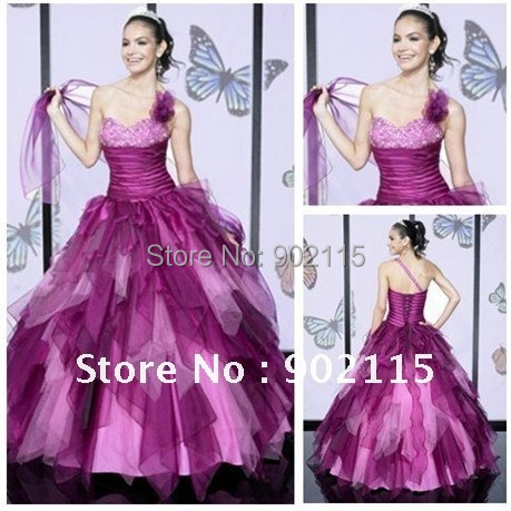 Free Shipping Romantic Style Beadings One Shoulder Tulle and Satin Designer Beaded Evening Gowns