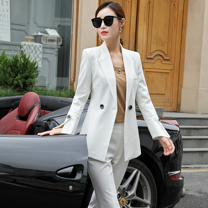 Set female 2019 spring and autumn new OL professional wear small suit two-piece flared pants pure color temperament women
