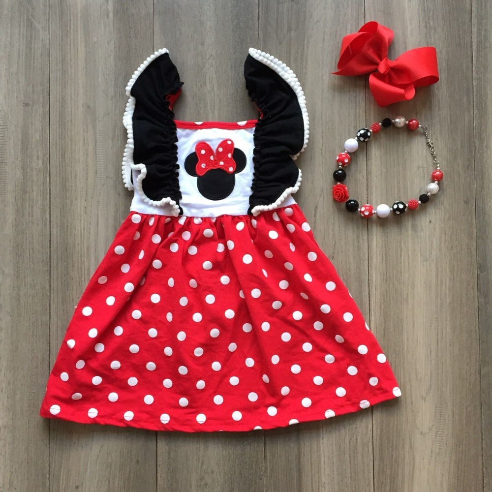 baby girls spring summer black  white dot red dress with bows and beadingsbaby girls spring summer black  white dot red dress with bows and beadings