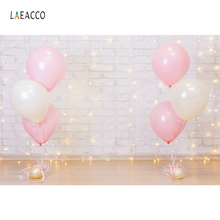 Birthday Backdrop Pink Balloons Gray Wall Gold Shiny Bulb Baby Party Love Portrait Photography Background Photocall Photo Studio