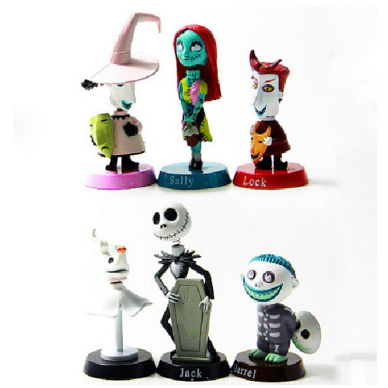 6pcs/lot Nightmare Before Christmas Jack Skellington Tim Burton Moving Action Figure Collection Toys Baby Doll Car Decor friend collection 11cm box the nightmare before christmas pumpkin king jack shrunken action figure doll cartoon pvc kids halloween d12