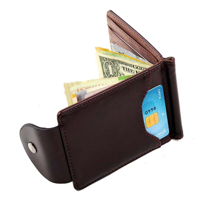 Ultra-thin Slim Men Leather Money Clip Wallet