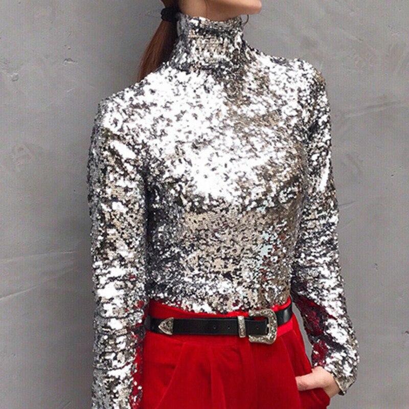 LANMREM 2019 новая весенняя модная Женская водолазка с длинными рукавами и блестками тонкая футболка Femael серебристый Brling Топ WC83910S