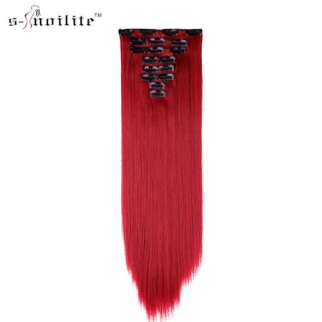 SNOILITE 23inch Dark Red Hairpiece 170g Straight 18 Clips in False Hair  Styling Synthetic Hair Extensions red extension hair 9ce2d7bcecad